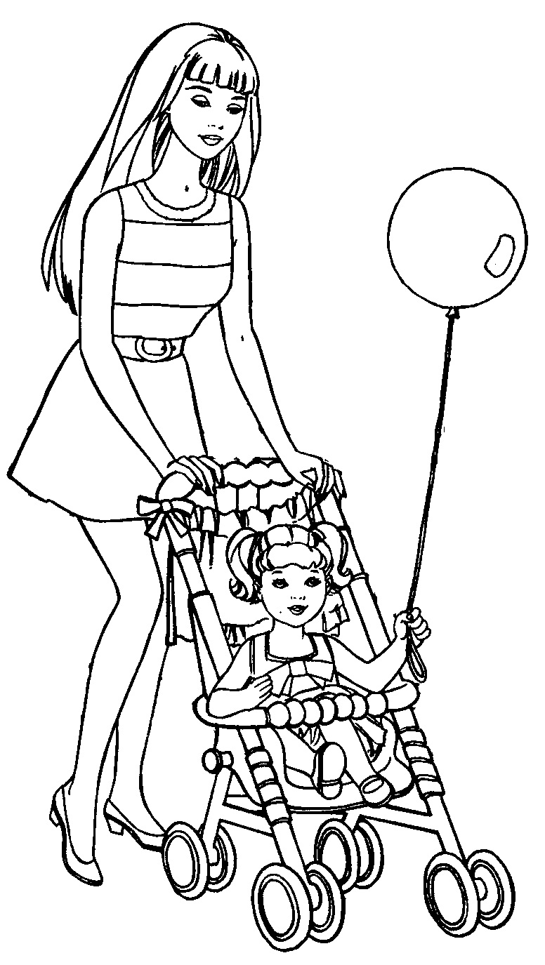 Dolls Pram Coloring Pages
