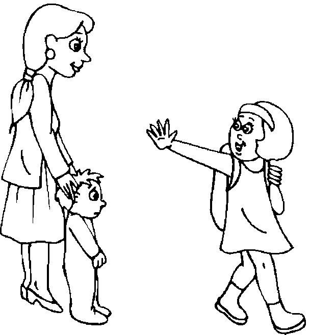 Saying Goodbye To Mom Quotes: Saying Goodbye Coloring Pages For Kids Sketch Coloring Page